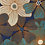 Thumbnail: Grandes fleurs graphiques bleu orangé