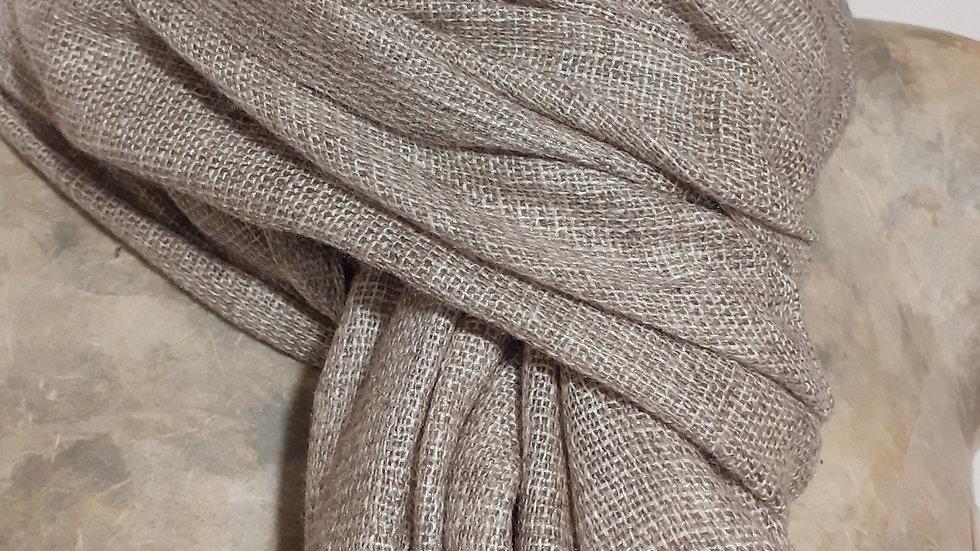 Taupe à bordure grise et tissage texturé 90x200 CM