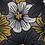 Thumbnail: Grandes fleurs graphiques moutarde et gris