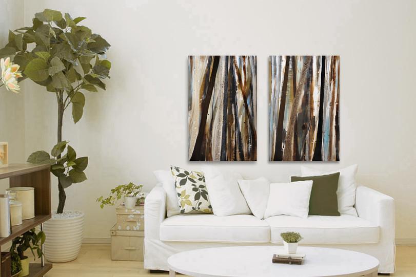Treeline in Olive #1 & 2