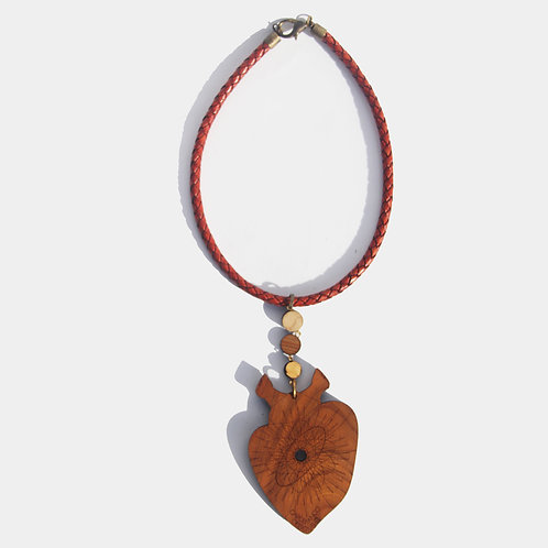 Sacred Heart Necklace (Leather Cord, 3 Wood Circles)