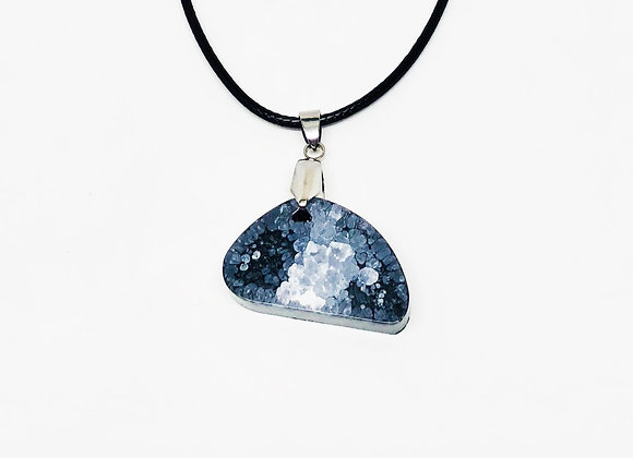 Black white gray resin necklace pendant jewelry front