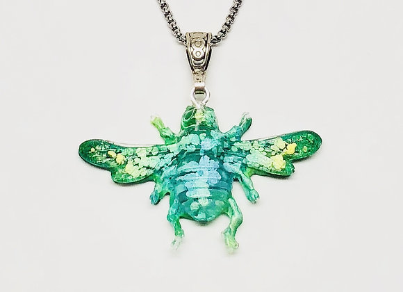 Green blue yellow bee resin necklace pendant jewelry front