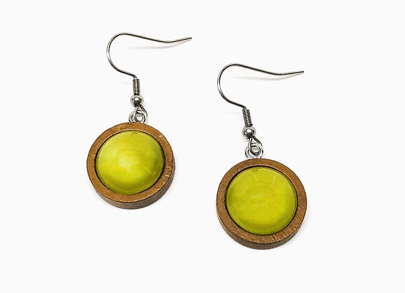 """Olive green 0.75"""" round earrings on wood back front"""