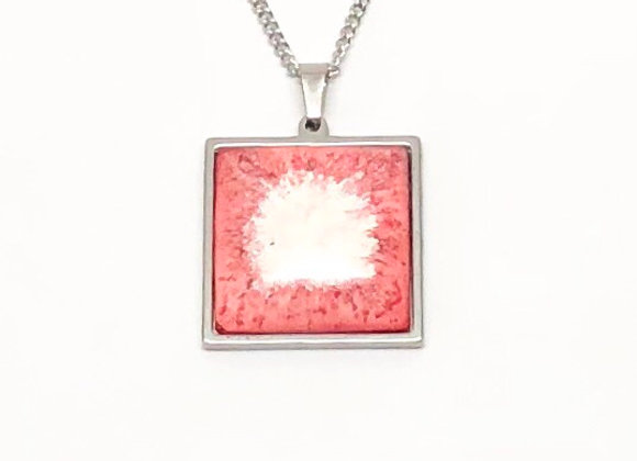 Pink white square resin necklace pendant jewelry front