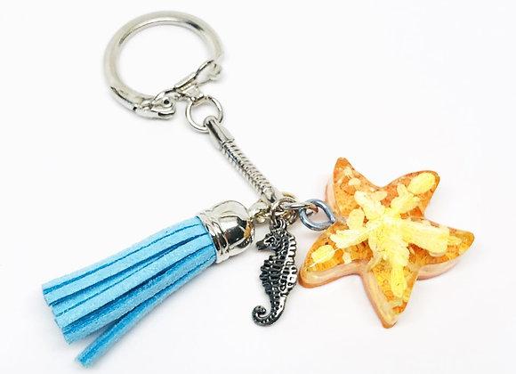 Tresino Orange White Star Resin Keychain Blue Tassel Seahorse - Sunshine