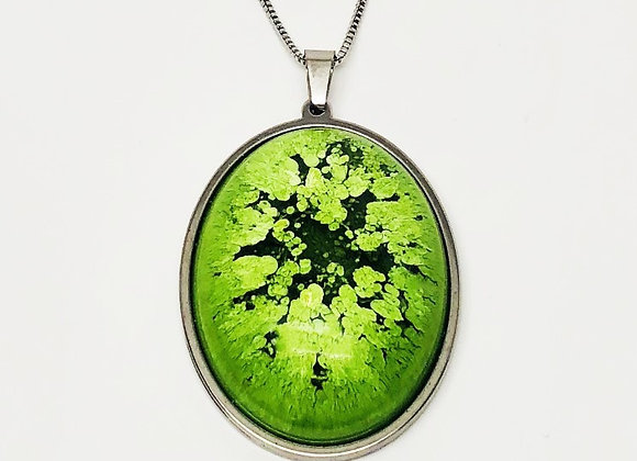 Green black oval resin necklace pendant jewelry front