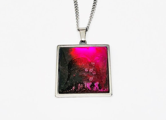 Black pink red square resin necklace pendant jewelry front