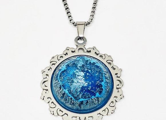 Blue silver black white gray vintage round resin necklace pendant jewelry front