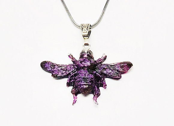 Purple violet black bee resin necklace pendant jewelry front