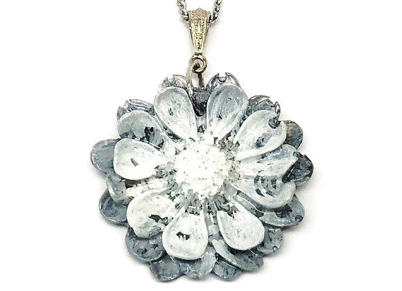Tresino black white gray flower resin necklace pendant jewelry front