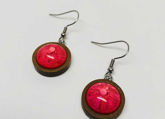 Red round wood resin earrings jewelry front