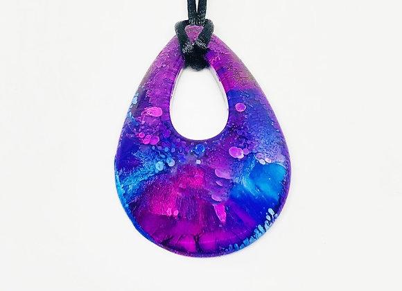 Purple blue teardrop resin necklace pendant jewelry front