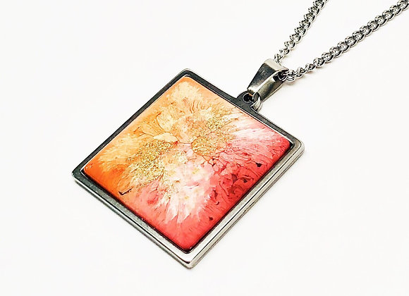 Pink orange white square resin necklace pendant jewelry front