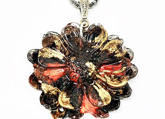 Tresino cranberry gold honey brown floral resin necklace pendant front
