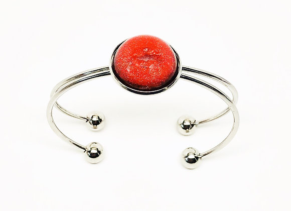 Red round resin bracelet bangle jewelry front