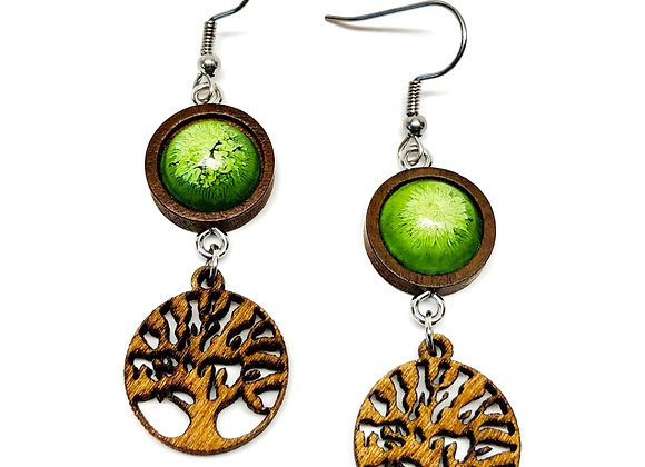 "Tresino Aspen 1.75"" long green resin earrings with a brown wood tree of life front"