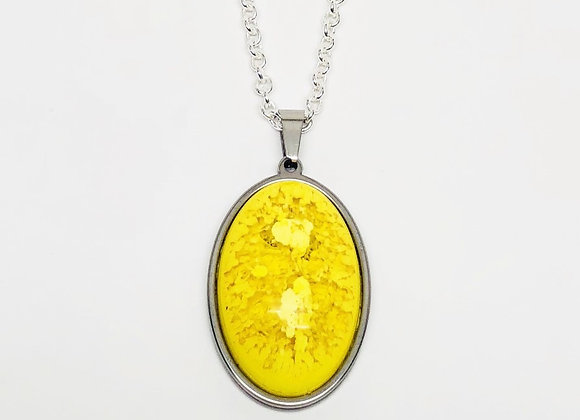 Yellow oval resin necklace pendant jewelry front