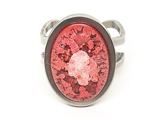 Pink white oval resin ring jewelry front