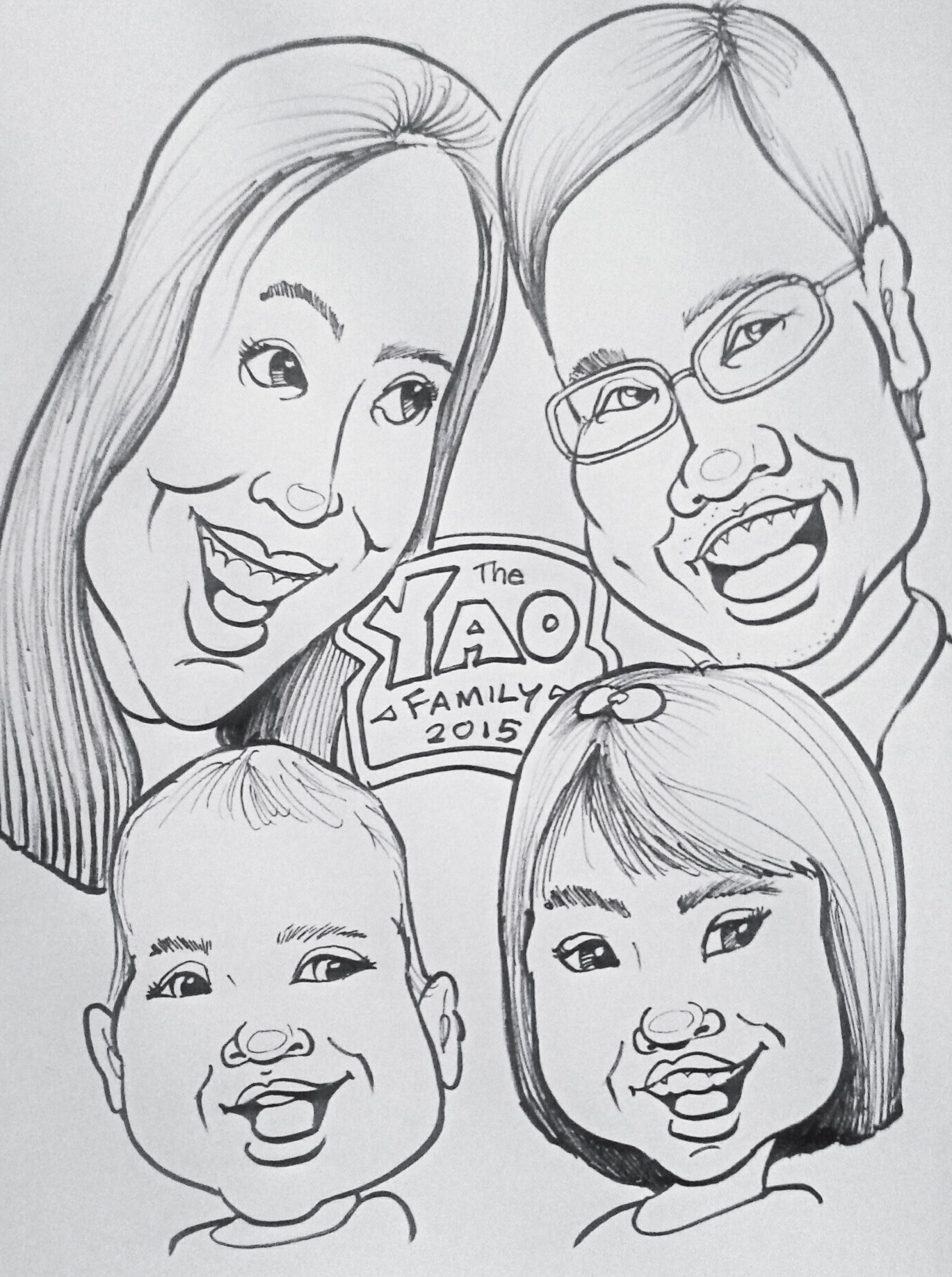 Caricature - family of four #2