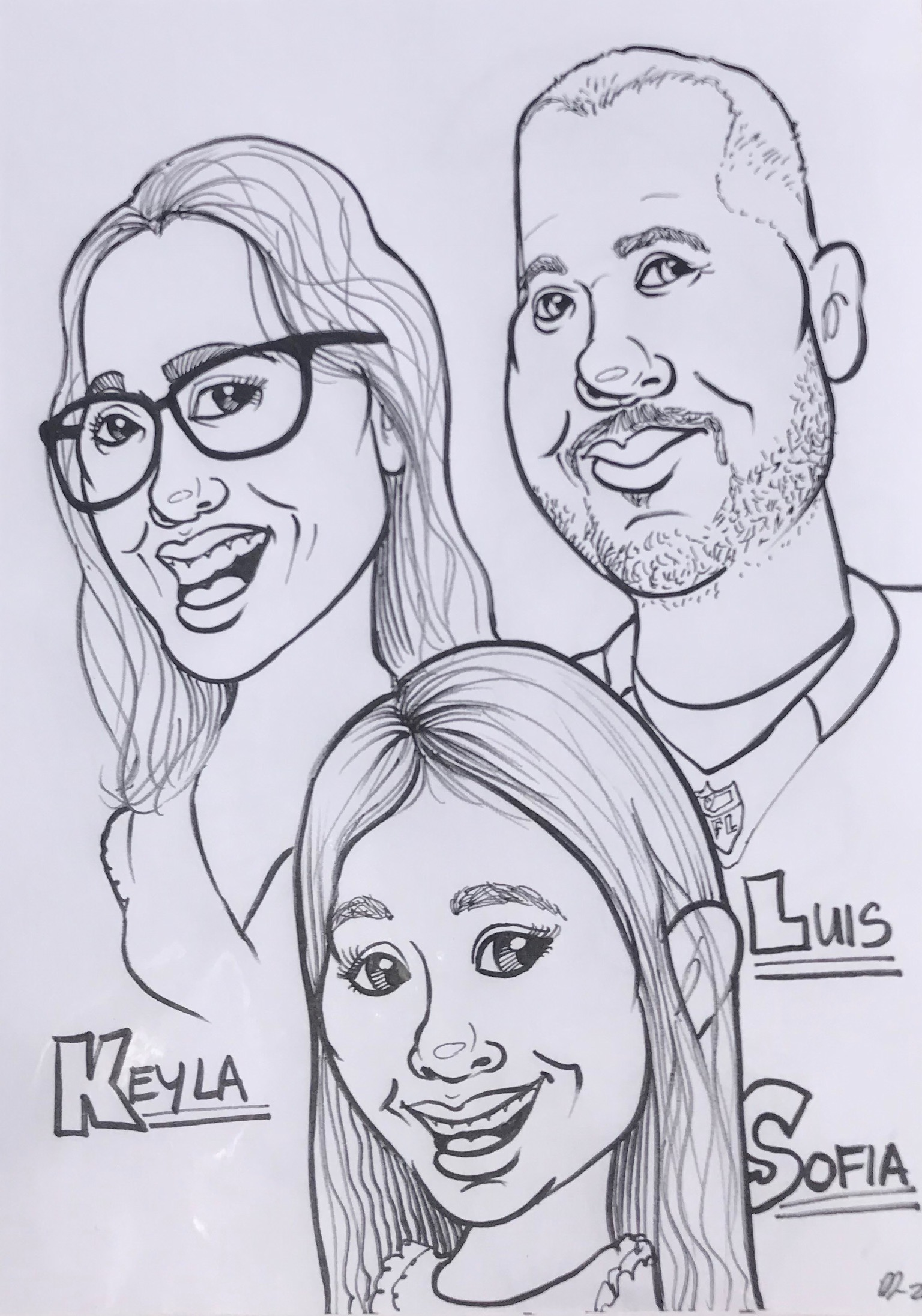 Caricature - Mom, Dad & Sofia