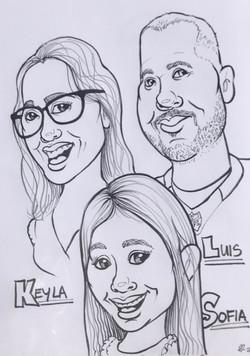 Caricature - Mom, Dad & Sofia