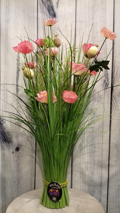 Poppy Pink Artificial Flowers & Grasses
