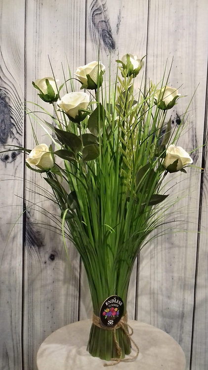 Roses White Artificial Flowers & Grasses