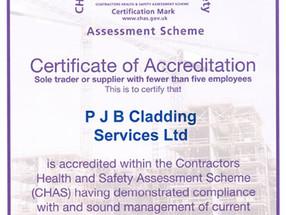 PJB Cladding Services obtain CHAS Accreditation