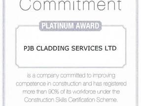 PJB Cladding obtain CSCS Platinum Award