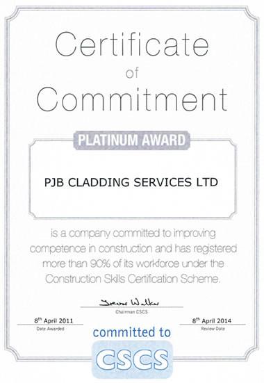 Certificate of Commitment - Platinum Award
