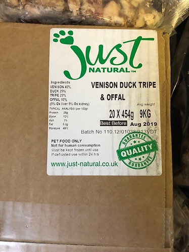 Venison, Duck Tripe & Offal Box of 20 x 454g bags