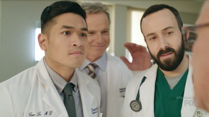 "Matt Mercurio in ""The Resident"" playing Dr. Gene Lu"