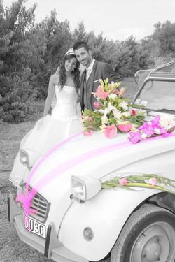 Mariage Nîmes N/B couleur 2