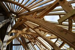 The new visitor centre frame at Felin Uchaf