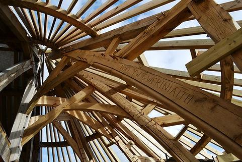 the new visitor centre frame at Felin Uchaf center, gwynedd, North wales, Wales