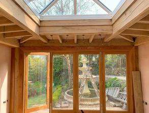 Oak framed orangery frame on the Llyn Pe