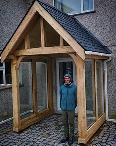 A bespoke oak porch made for a client in Gwynedd