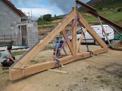 Oak framed truss for a client on Pen Llŷn