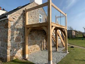Oak framed balcony with glazing