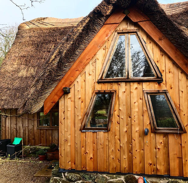 Lovely colour on these cedar vertical cladding boards and larch facia boards.