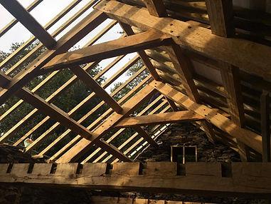 Oak framed barn restoration project with