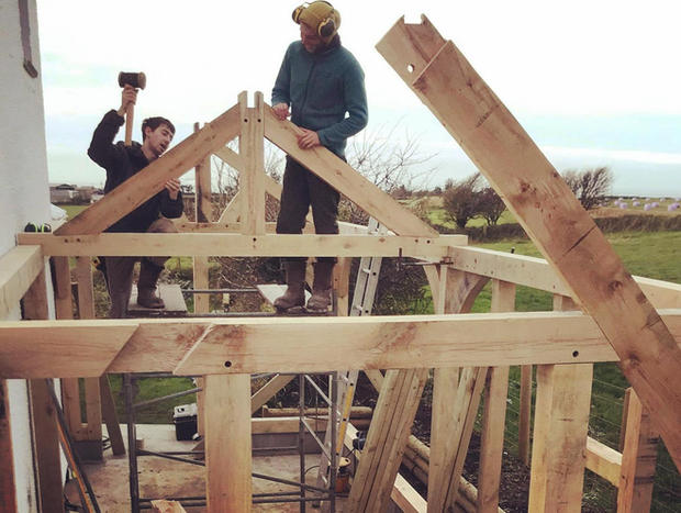 Site Oak Frame being fitted.
