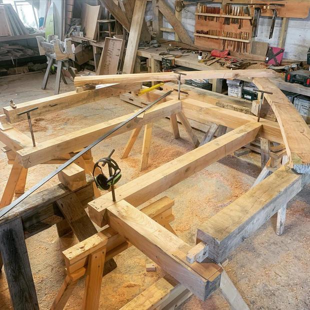 Oak Framing in the workshop.