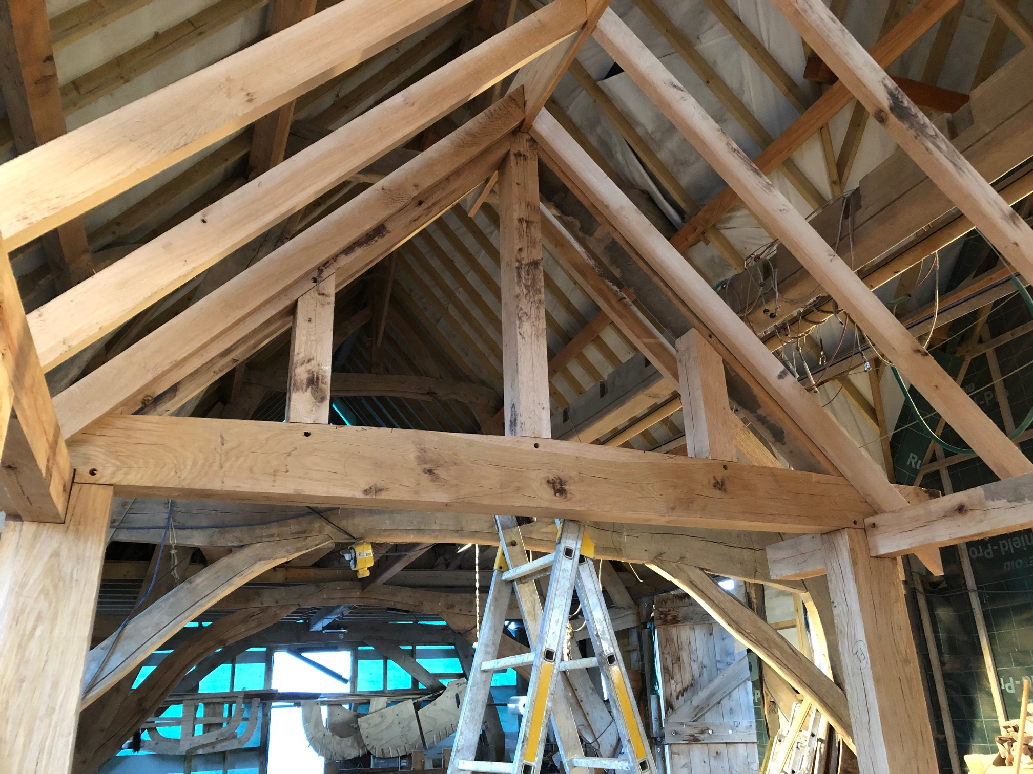 Trial fitting an oak framed porch