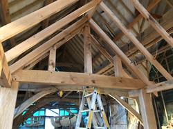 Trial fitting an oak framed porch