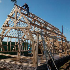 Cruck framed barn made using locally sourced Welsh oak