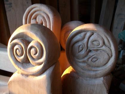 Carved Oak gate heads