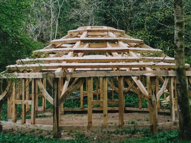 Oak framed visitor centre in bishops wood Swansea