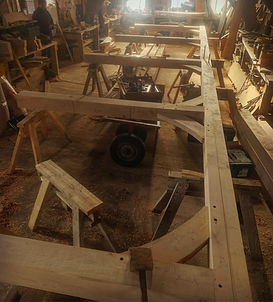 Trial fitting an oak frame in the worksh